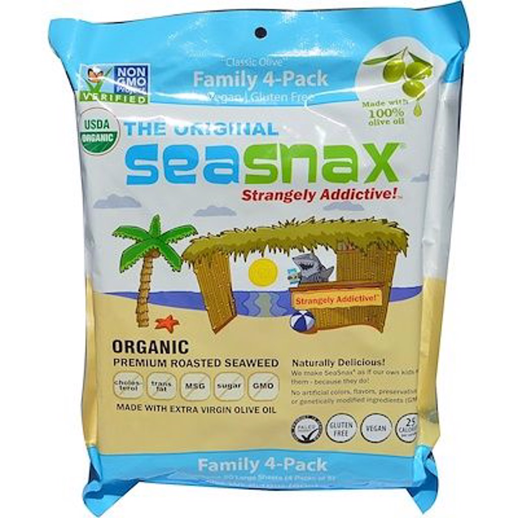 """""""Classic"""" Olive, Roasted Seaweed Snack, Four Pack, 5 sheets (.54 oz) Each"""