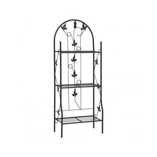 3Layer Plant Rack Black 52x28x128 cm Iron