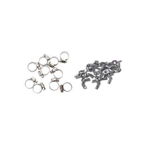 10 Pcs 1m to 19mm Hose Pipe Clamps & 20 Pcs A2/70 (304) Stainless Steel Wing Nuts Butterfly Nuts Silver, M3 X 0.5mm